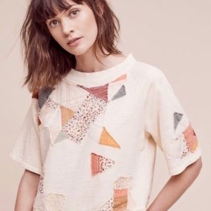 Anthropologie Postmark Patchwork Distressed Top M